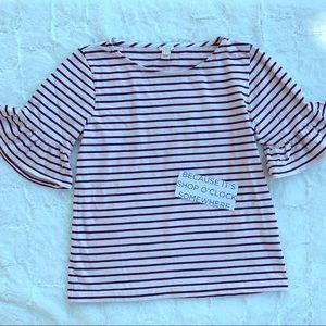 J Crew Ruffle Sleeve T-shirt
